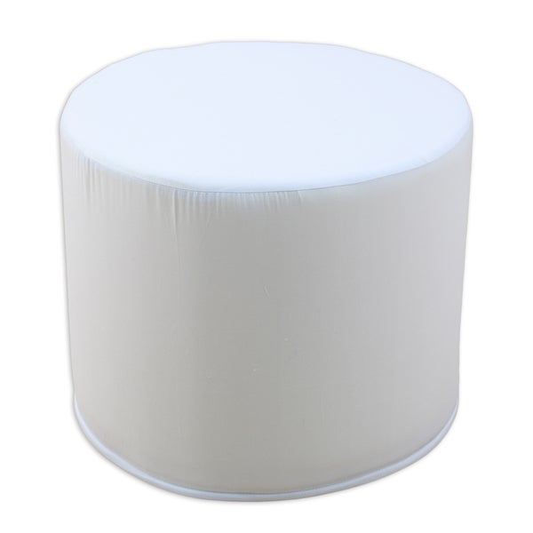 Duck White Round Corded Ottoman