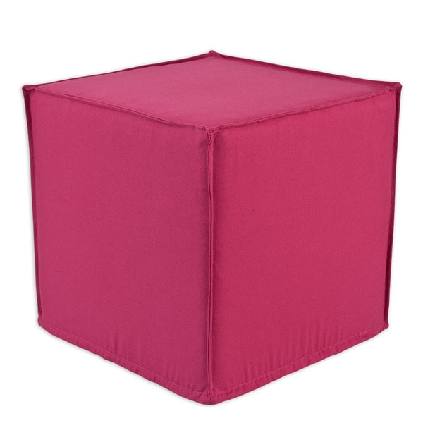 Duck French Pink Square Seamed Foam Ottoman