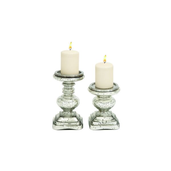 Silver-colored Glass Candle Holders 19542583