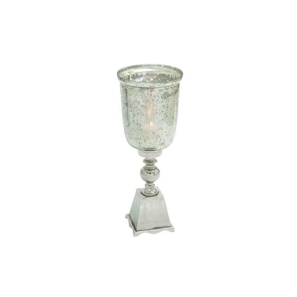 Aluminum and Glass Hurricane Candle Holder 19542602