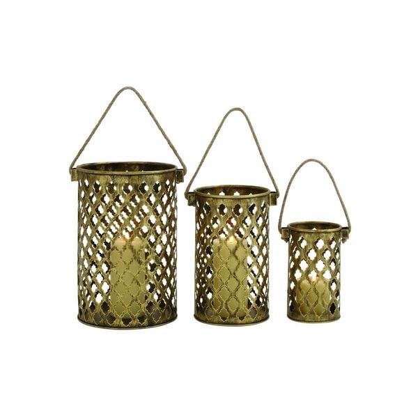 Metal 18, 16, and 13-inch 3-piece Candle Lantern