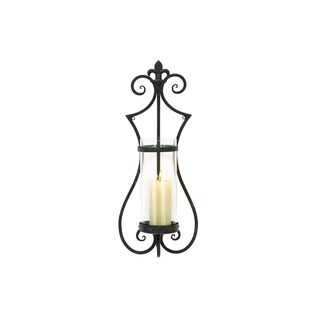 Metal and Glass 25-inch High x 10-inch Wide Candle Sconce