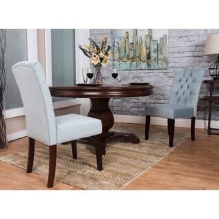 Somette Light Blue Microfiber Dining Chair Set (Set of 2)