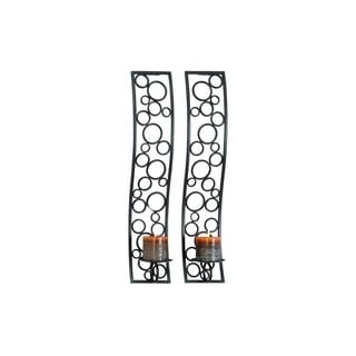 Grey-colored Iron Sconce Candles (Set of 2)