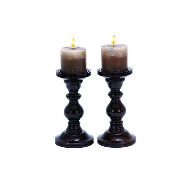 Turned Wood Candle Holders (Set of 2)
