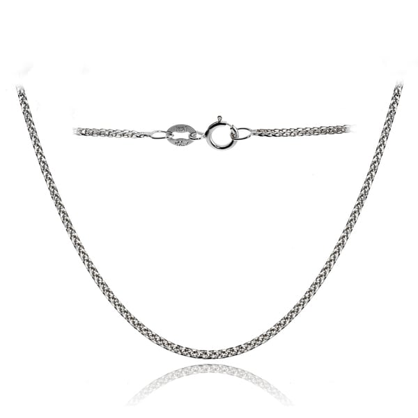 Mondevio 14k White Gold .8mm Spiga Wheat Italian Chain Necklace, 18 Inches