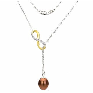 DaVonna Sterling Silver 2-tones Infinity 8-9mm Brown Long Shape Freshwater Pearl Lariat Chain Necklace