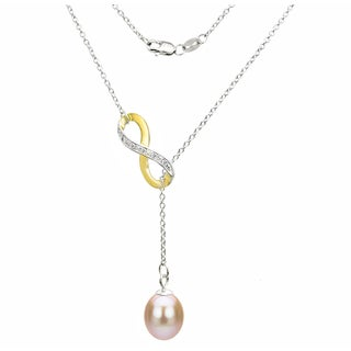 DaVonna Sterling Silver 2-tones Infinity 8-9mm Pink Long Shape Freshwater Pearl Lariat Chain Necklace