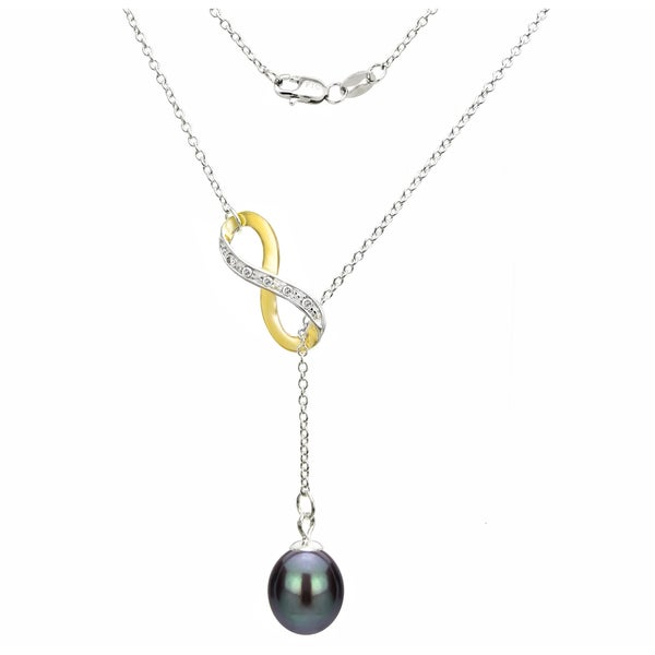 DaVonna Sterling Silver 2-tones Infinity 8-9mm Black Long Shape Freshwater Pearl Lariat Chain Necklace