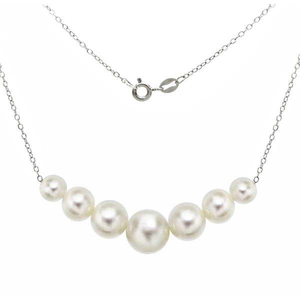 "DaVonna Sterling Silver 6-10mm White Freshwater Cultured Pearls on Cable Chain Necklace 18"" 19543173"