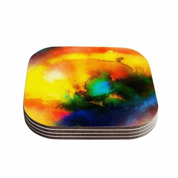 No 'Good Vibrations' Abstract Multicolor Coasters (Set of 4) 19543254