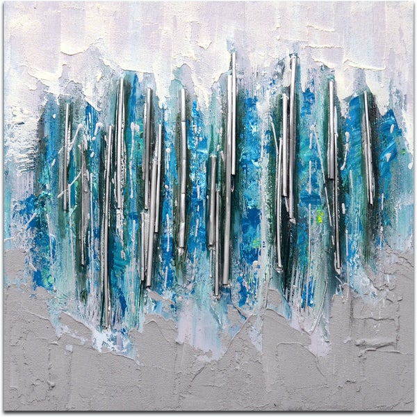 """Array in Silver Icicles"" Original Oil Paint Canvas Art 19543380"