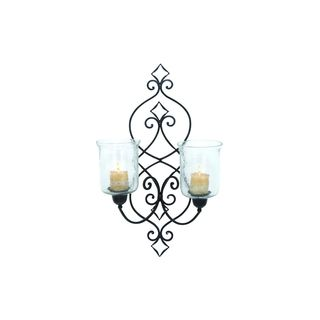 Black/Clear Iron and Glass Candle Wall Sconce