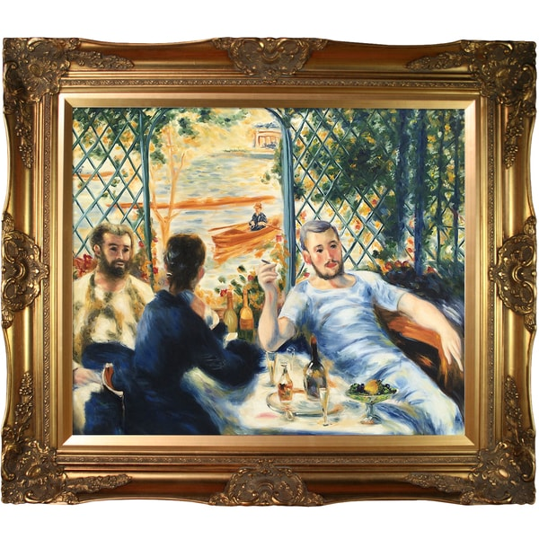 Pierre-Auguste Renoir 'Lunch at the Restaurant Fournaise' (The Rowers' Lunch) Hand Painted Framed Canvas Art