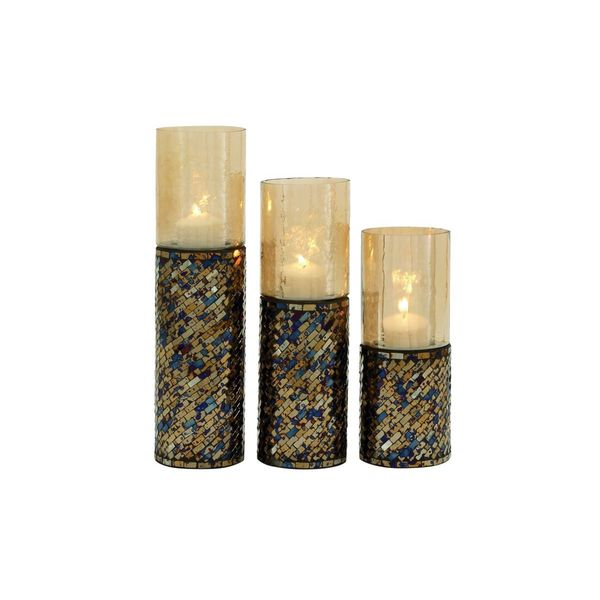 Metal and Glass Mosaic High Candle Holder (Set of 3)