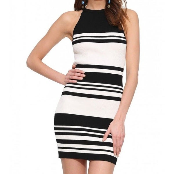Six Crisp Days Black/ White Bandage Dress