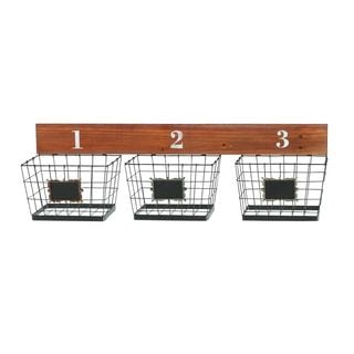 Metal and Wood Wall Baskets (10-inchH x 34-inchW)