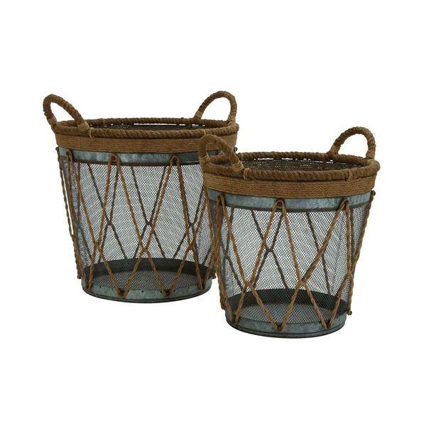 Brown/Grey Metal Burlap Baskets