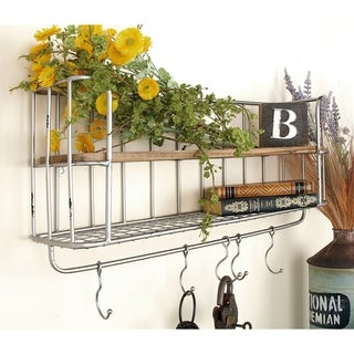 Iron and Wood Shelf and Hook Rack (Set of 2)