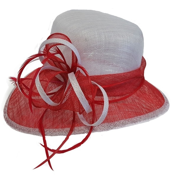 Swan Hat Feathered Red/White Derby Dressy Sinamay Hat