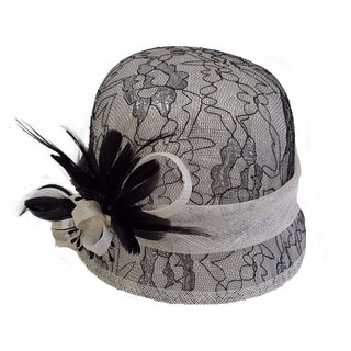 Hatch Swan Hat Black/Ivory Lace/Sinamay Derby Cloche Hat