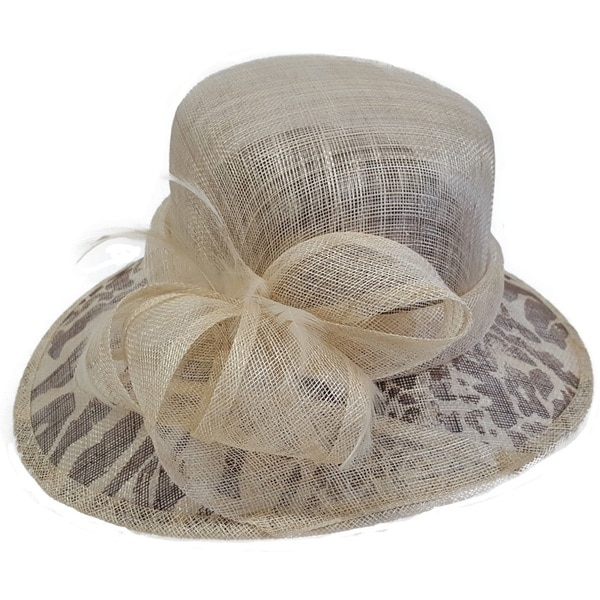 Swan Hat Natural/Leopard Derby Dressy Sinamay Hat