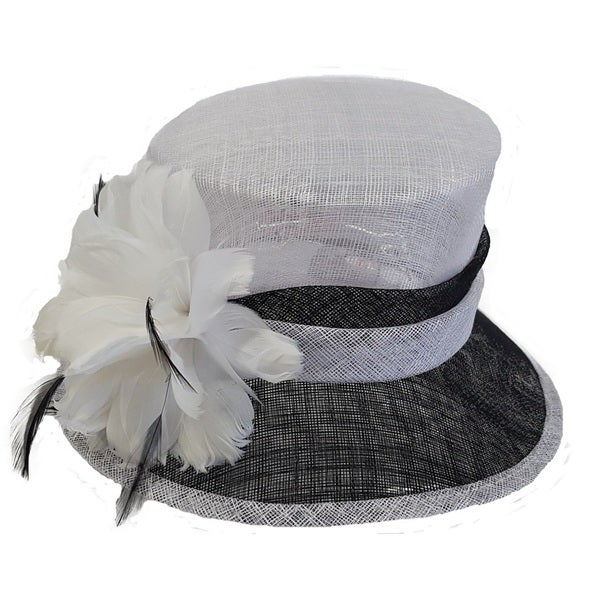 Swan Hat Feathered Black/White Derby Dressy Sinamay Hat