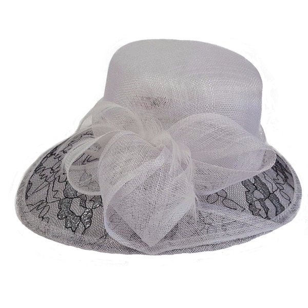 Swan Hat White/Black Derby Dressy Lace Covered Cloche Sinamay Hat