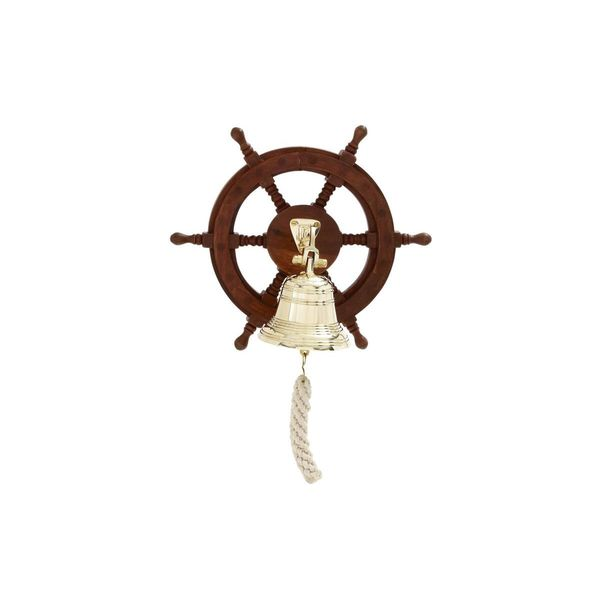 Nautical Wood and Brass 12-inch Ship Wheel and Bell