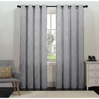 Tangier by Artistic Linen Grommet Top Geometric Metallic Embroidered Window Curtain Panel Pair