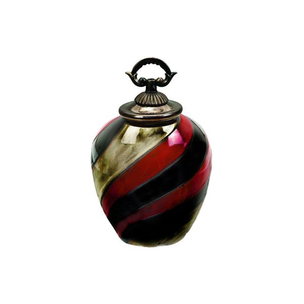 Metallic Finish Black/Red Swirl Pattern Apple-shaped Ceramic Jar