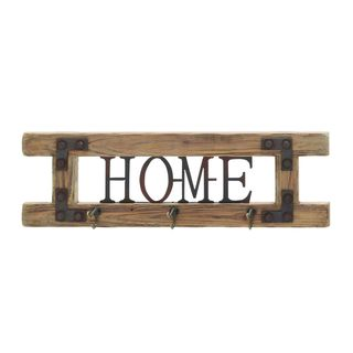 Wood and Metal 'Home' Wall Art with Hooks