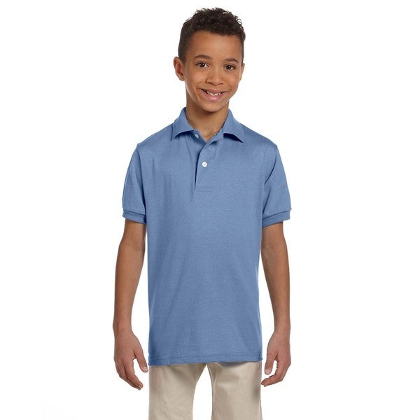Spotshield Boys' Light Blue Polyester/Cotton Jersey Polo