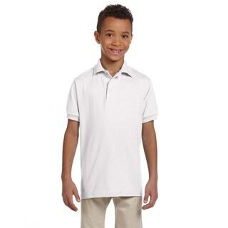 Spotshield Boys' White Cotton Jersey Polo Shirt