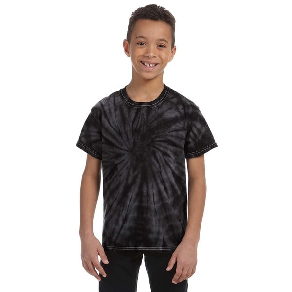 Boy's Tie-dyed Cotton Spider Black T-shirt 19544259