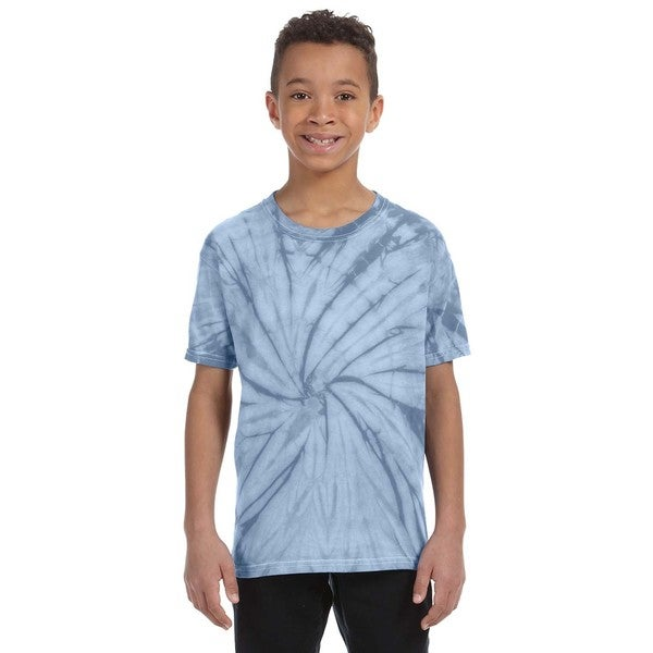 Boys' Baby Blue Cotton Spider Tie-Dyed T-shirt