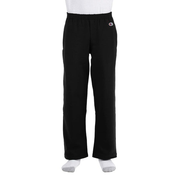Youth Black Double Dry Action Fleece Open Bottom Pant