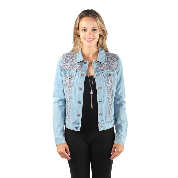 Hadari Woman's Button Down Denim Jacket with Paisley Print