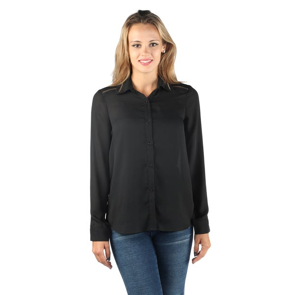 Hadari Woman's Wing Collar Button Down Full Sleeve Black Blouse