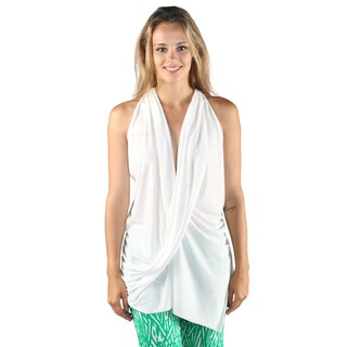 Hadari Womans Casual Sleeveless Overlapped Frontal V-Neck Back Crossed White Top