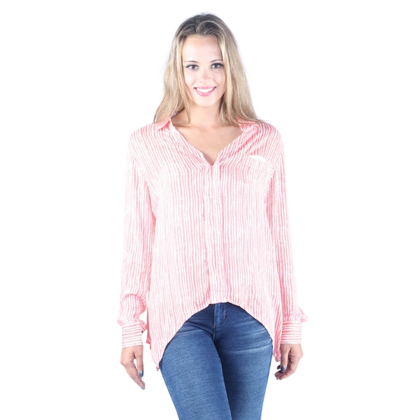 Hadari Woman's Coral button down Shirt