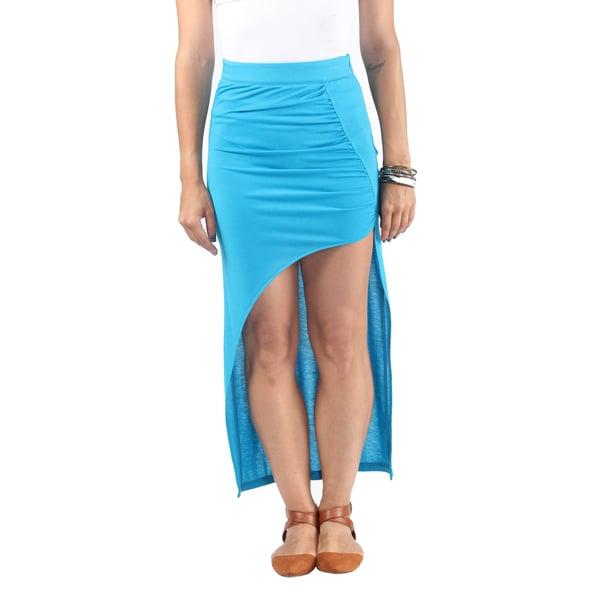 Hadari Womens Exotic Baby Blue High Waist Line Maxi Skirt wih Diagonal Streetstyle Slit