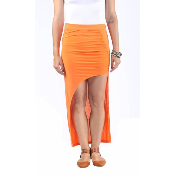Hadari Womens Exotic Orange High Waist Line Maxi Skirt wih Diagonal Streetstyle Slit