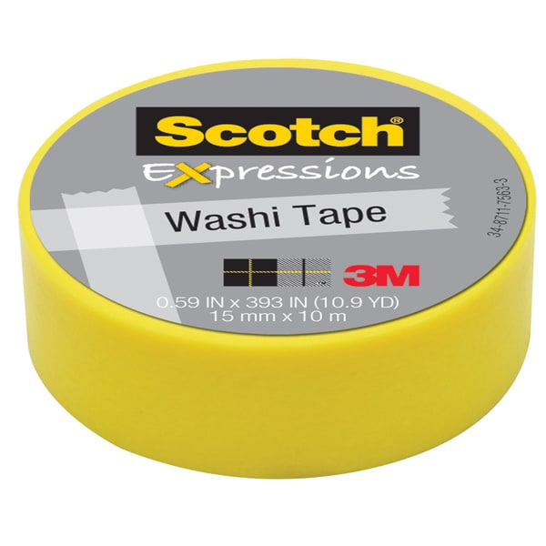 "3M C314-YEL .59"" X 393"" Yellow Expressions Washi Tape"