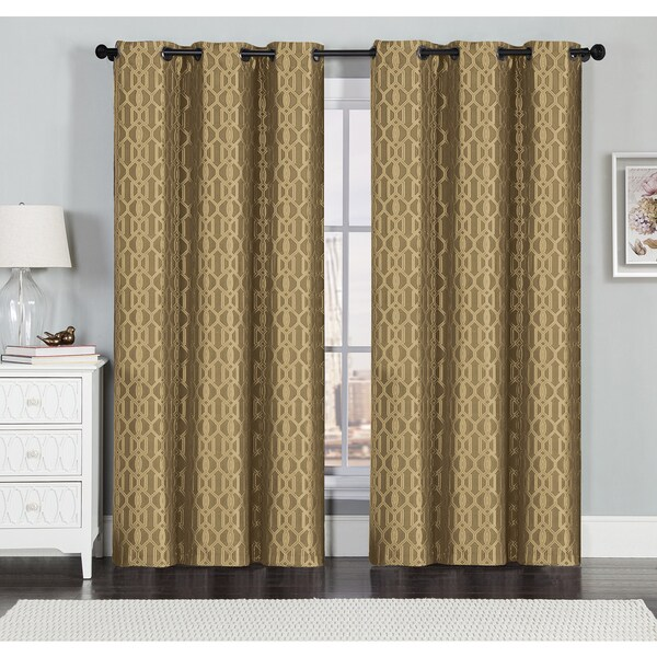 ... Linen Grommet Textured Geometric Jacquard Window Curtain Panel Pair