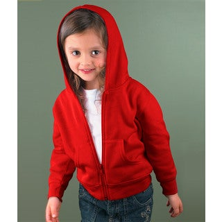 Boys' Red 7.5-ounce Cotton-blend Fleece Full-zip Hoodie
