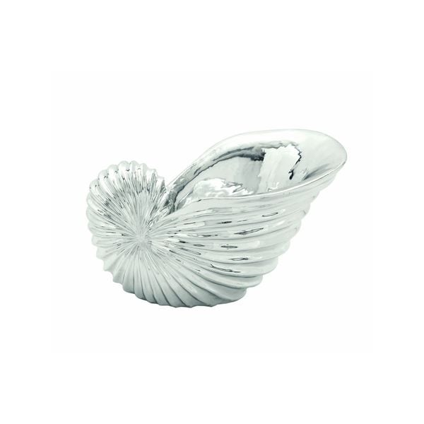 Contemporary Silver-finish Polystone Fluted Conch Shell Bowl