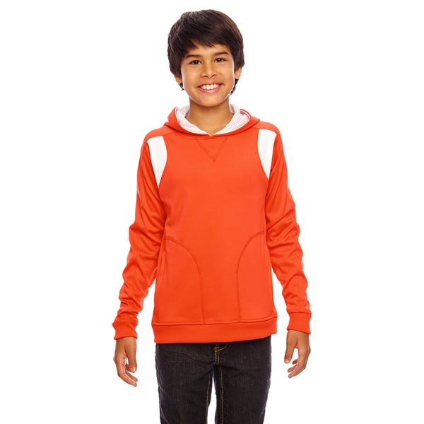 Elite Boys' Orange/White Cotton-blend Performance Sport Hoodie