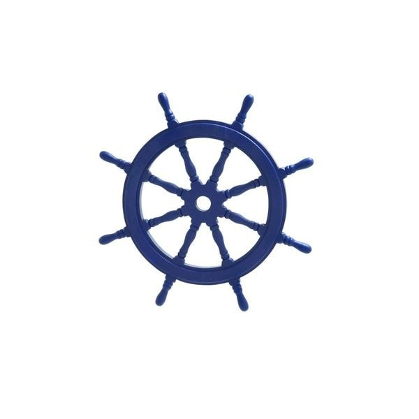 Nautical Blue Wood 24-inch Ship Wheel