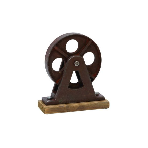 Wood and Metal Table Top Pulley Wheel Figurine